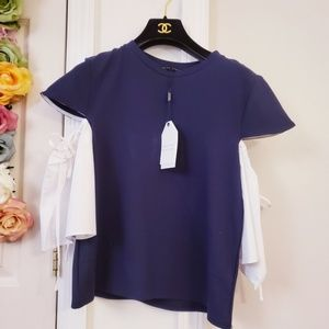 New English factory Blue White Top S